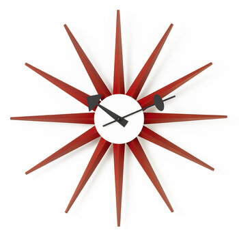 Large Sunburst Clock - Red
