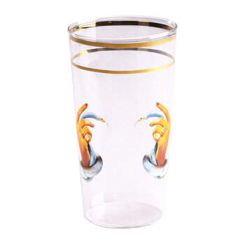 Gold Rim Glass - Hands with Snakes