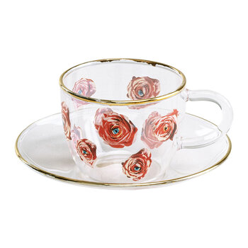 Glass Coffee Set - Roses