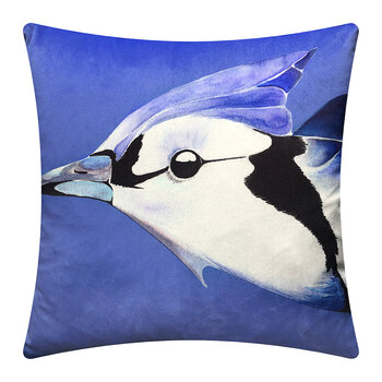 Blue Jay Velvet Cushion - Cornflower