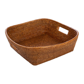 Rattan Square Basket - Dark