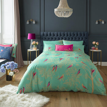 Green Birds Duvet Set