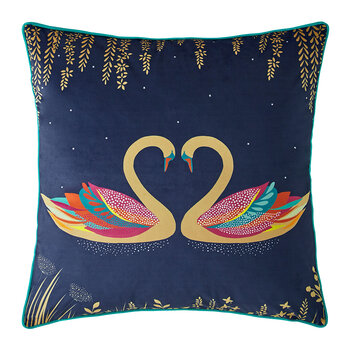 Swan Cushion - Navy - 50x50cm