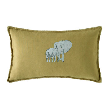 ZSL Elephant Pillow - Mustard - 30x50cm