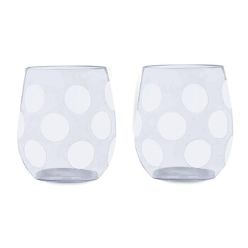Jumbo Dot Acrylic Stemless Wine Glass - Set of 2