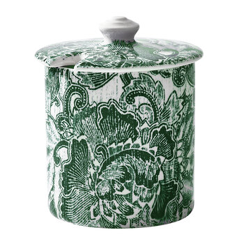Faded Peony Sugar Pot - Green