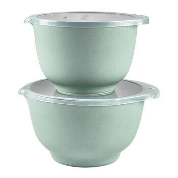 Margrethe Mixing Bowl with Lid - Set of 2 - Pebble Green