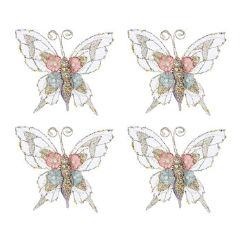 Embroidered Butterfly Clip Decoration - Set of 4