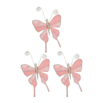 Lace Butterfly Clip On Decoration - Set of 3 - Pink