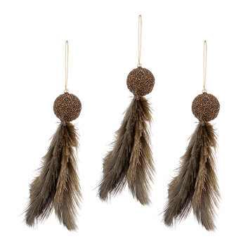 Ball With Feather Tassel Tree Decoration - Set of 3 - Natural