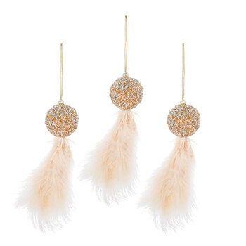 Ball With Feather Tassel Tree Decoration - Set of 3 - White/Gold