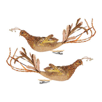 Peacock Clip On Decoration - Set of 2 - Gold