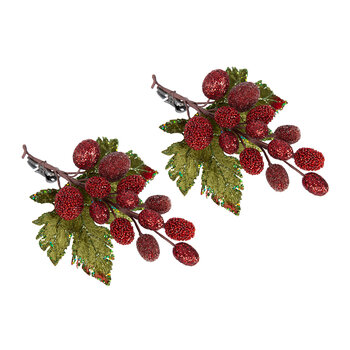 Red Grape Clip On Decoration - Set of 2
