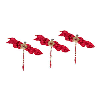 Beaded Bow Clip On Decoration - Set of 3