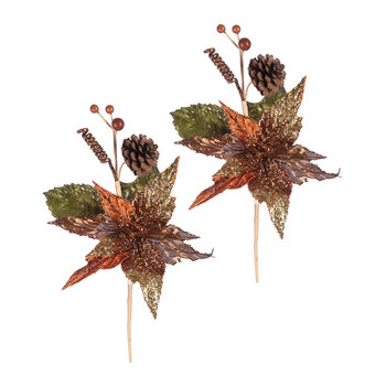 Artificial Poinsettia Pick - Set of 2 - Rust/Gold