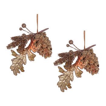 Pine Cone Tree Decoration - Copper/Gold - Set of 2