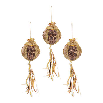 Embelished Bauble With Tassel - Set of 3 - Gold