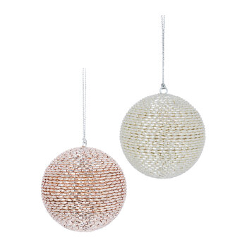 Beaded Bauble - Ivory/Pink - Set of 2