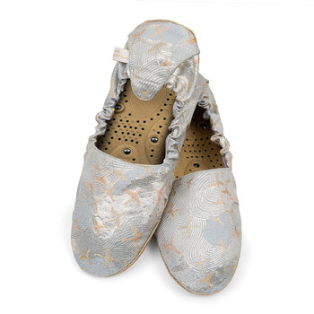 Massaging Slippers - Silver Crane Brocade