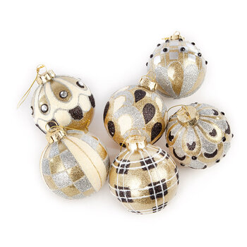 Golden Hour Glass Ball Tree Decorations - Set of 6