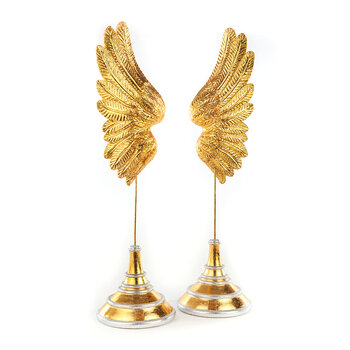 Golden Angel Wings Candle Holder - Set of 2