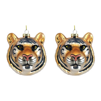 Glass Tiger Head Tree Decoration - Set of 2