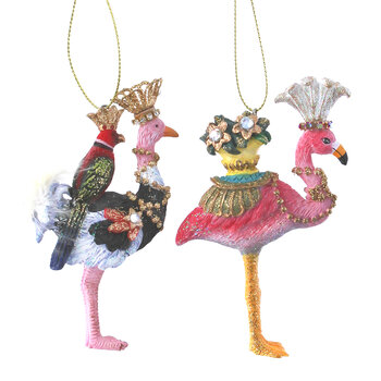 Ostrich & Flamingo Tree Decorations - Set of 2