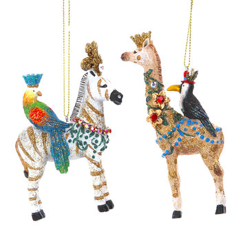 Zebra & Giraffe Tree Decorations - Set of 2