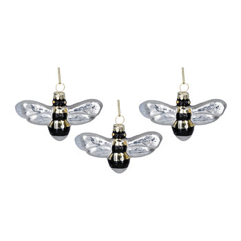 Glass Bumble Bee Tree Decoration - Set of 3