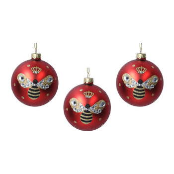 Painted Glass Bumble Bee Bauble - Set of 3 - Matt Red