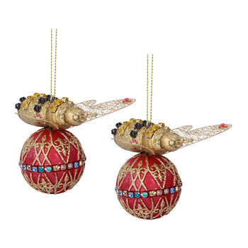 Diamante Bee on Orb Bauble - Set of 2