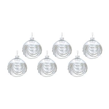 Draped Diamante Bauble - Set of 6 - Clear