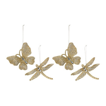 Glitter Butterfly & Dragonfly Tree Decorations - Set of 4 - Gold
