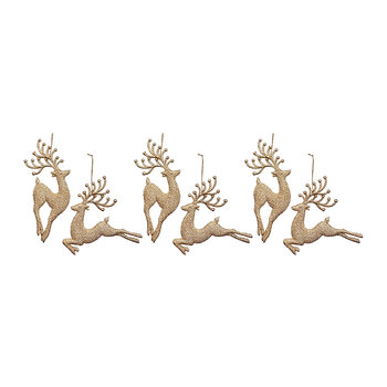 Glitter Reindeer Tree Decoration - Set of 6 - Gold