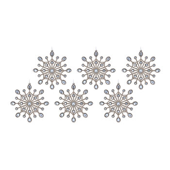 Glitter Snowflake Tree Decoration - Set of 6