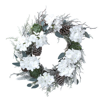 Frosted Hydrangea Wreath - White