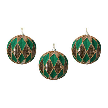 Harlequin Glass Bauble - Set of 3 - Green/Gold