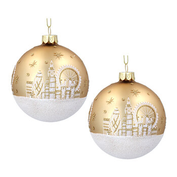 London Scene Glass Bauble - Set of 2 - Gold/White