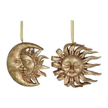Sun & Moon Face Tree Decoration - Set of 2 - Antique Gold