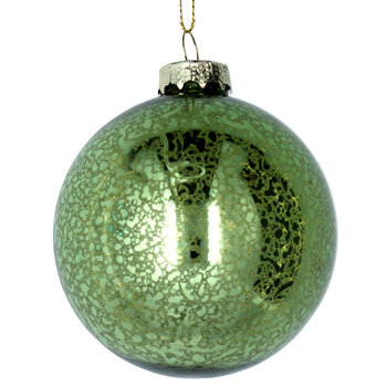 Antique Effect Glass Bauble - Set of 6 - Green