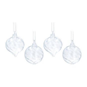 Spiral Glass Bauble - Set of 4 - Clear