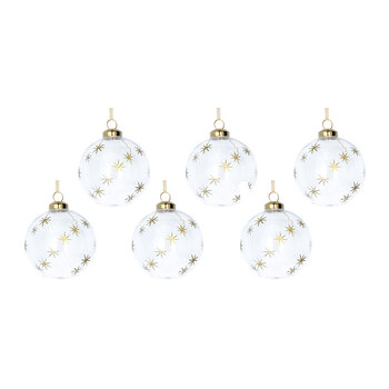 Etched Star Glass Bauble - Set of 6 - Clear/Gold