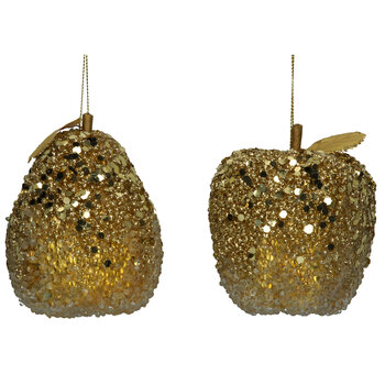 Bead & Sequin Apple & Pear Tree Decoration - Set of 6 - Gold