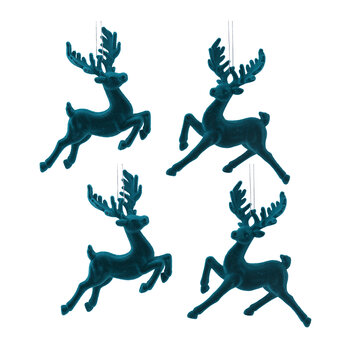 Flocked Stag Tree Decoration - Set of 4 - Turquoise