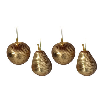 Sequin Apple & Pear Tree Decoration - Set of 4 - Matt Gold