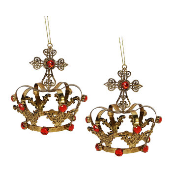 Metal Crown Tree Decoration - Set of 2 - Gold/Red
