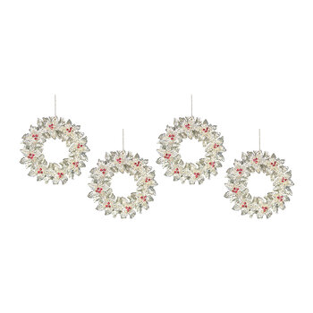 Holly Wreath Tree Decoration - Set of 4 - Clear/Gold/Red