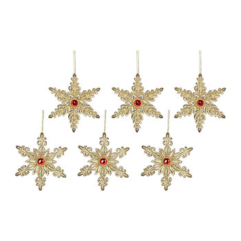 Glitter Snowflake Tree Decoration - Set of 6 - Gold
