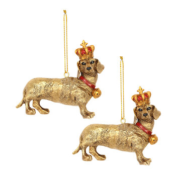 Dachshund with Crown Tree Decoration - Set of 2 - Gold