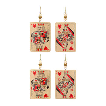 Wooden Beaded Playing Card Tree Decoration- Set of 4